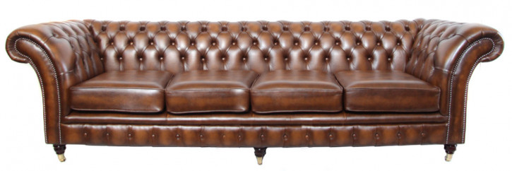 """Fort William"" Chesterfield Sofa  4-Sitzer Anilinleder"