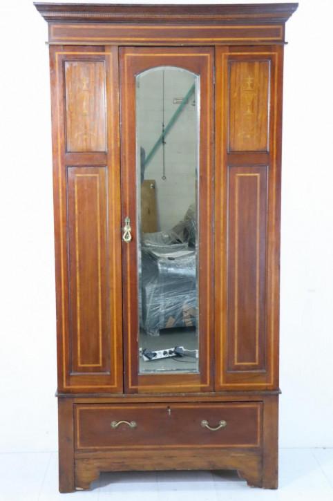 Antiker 1-türiger Kleiderschrank mit einem zentralen Spiegel, ca. 1900