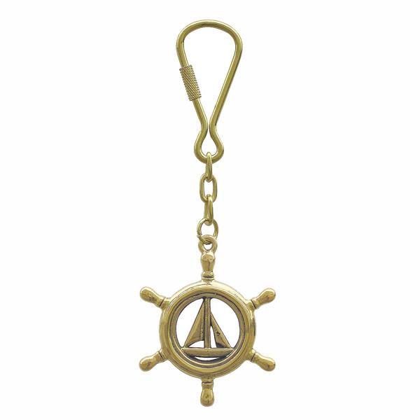 Schlüsselanhänger - Steuerrad mit Segelboot
