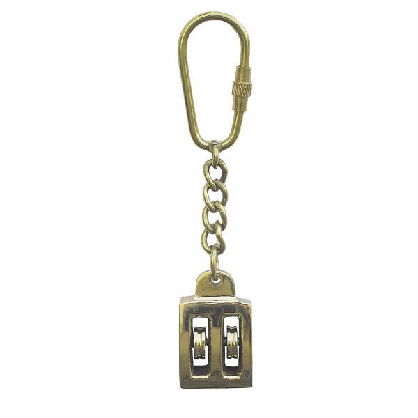 Schlüsselanhänger - Blockrolle mit Messing, 2-fach