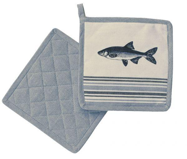 Topflappen - Fisch, Baumwolle, gesteppt, 20x20cm