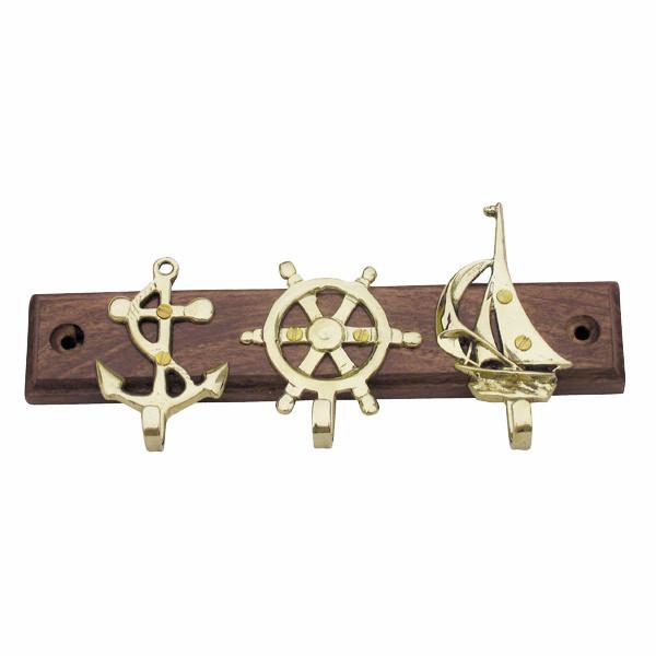 Schlüsselhaken mit Anker, Steuerrad & Segelboot