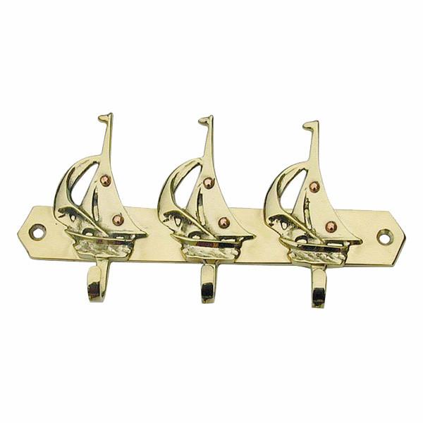 Schlüsselhaken mit 3 Segelbooten 16x7cm
