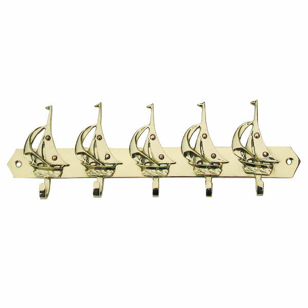 Schlüsselhaken mit 5 Segelbooten 25,5x7cm