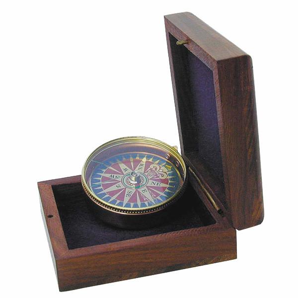 Kompaß mit Windrosenblatt, Ø5cm, in der Holzbox