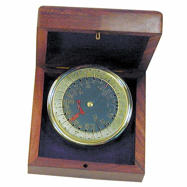 Weltzeitanzeiger, Messing, Ø5,5cm in der Holzbox