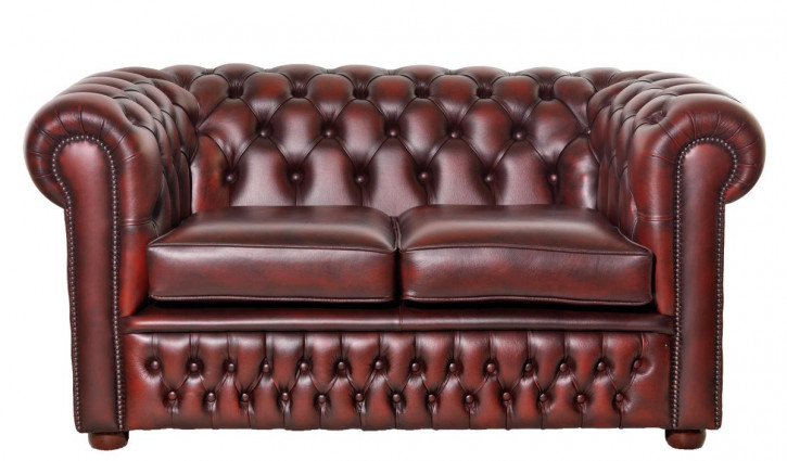 """William"" Chesterfield Sofa 2-Sitzer Leder Anilinleder Rindsleder"