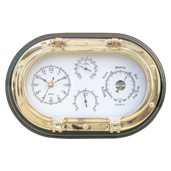Uhr, Baro-, Thermo- & Hygrometer im ovalen Bullauge auf Holz, 31x20,5cm