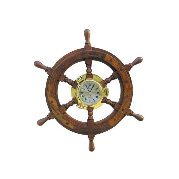 Bullaugenuhr im Steuerrad Ø: 45cm, Uhr-Ø: 14cm