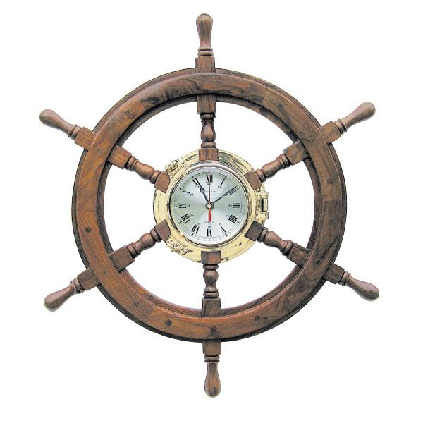 Bullaugenuhr im Steuerrad Ø: 60cm, Uhr-Ø: 18cm