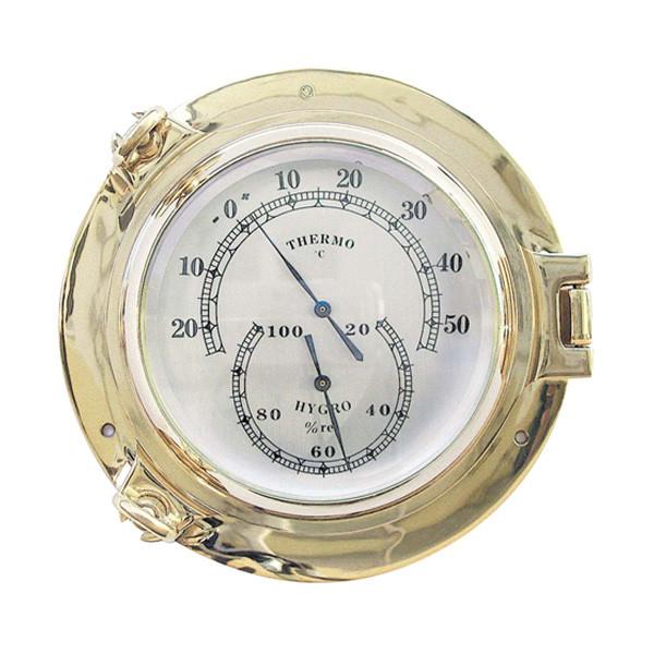 Thermo- & Hygrometer im Bullauge  Ø: 14cm