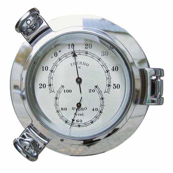 Thermo- & Hygrometer im Bullauge, verchromt, Ø: 14cm