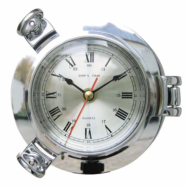 Uhr im Bullauge, verchromt Ø: 14cm