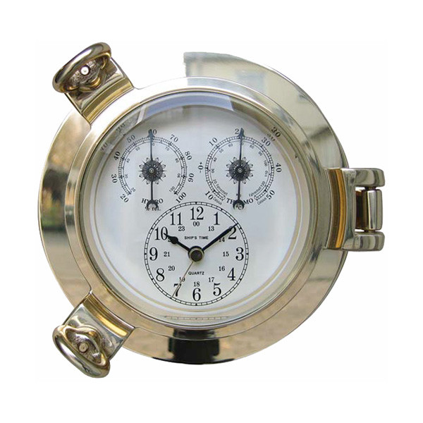 Uhr, Thermo- & Hygrometer im Bullauge, Ø: 14cm