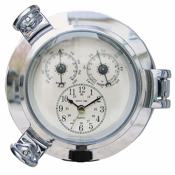 Uhr, Thermo- & Hygrometer im Bullauge, verchromt, Ø: 14cm