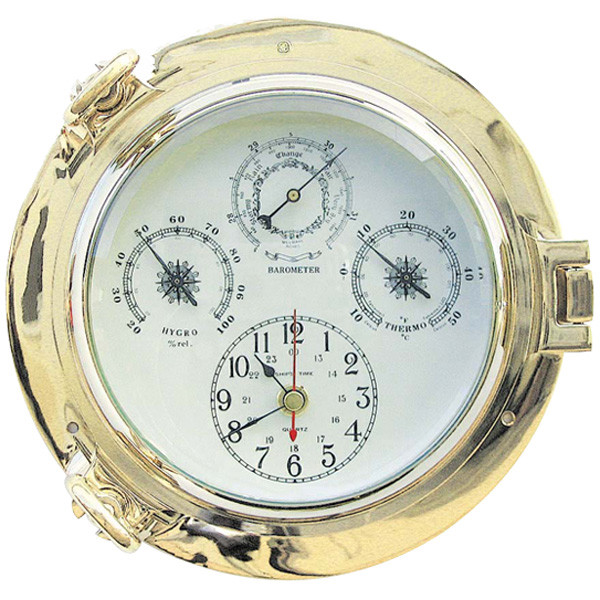 Uhr, Baro-, Thermo- & Hygrometer im Bullauge, Ø: 22cm