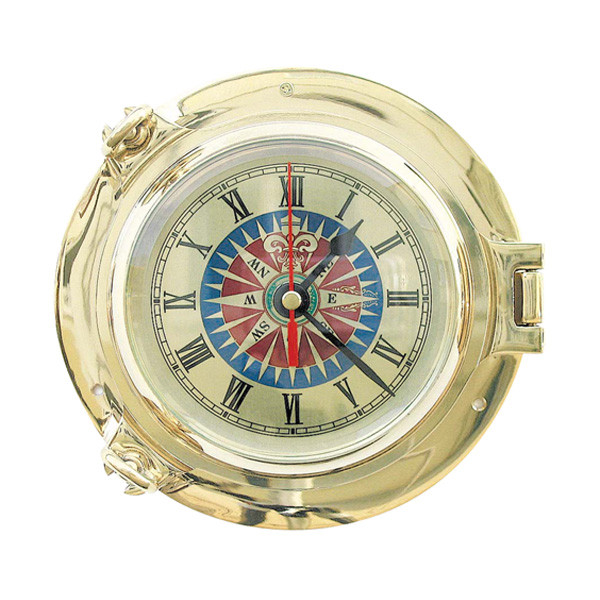 Bullaugen-Uhr mit Windrosenzifferblatt  Ø: 14cm
