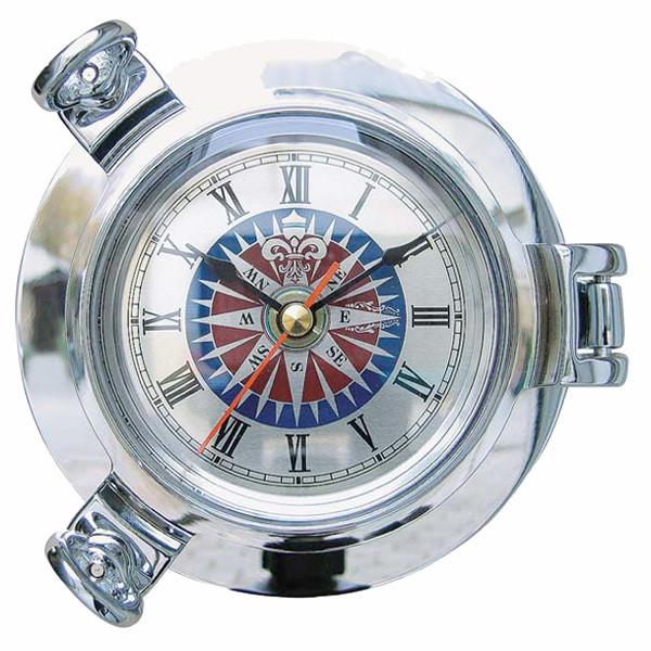 Bullaugen-Uhr mit Windrosenzifferblatt, verchromt Ø: 14cm