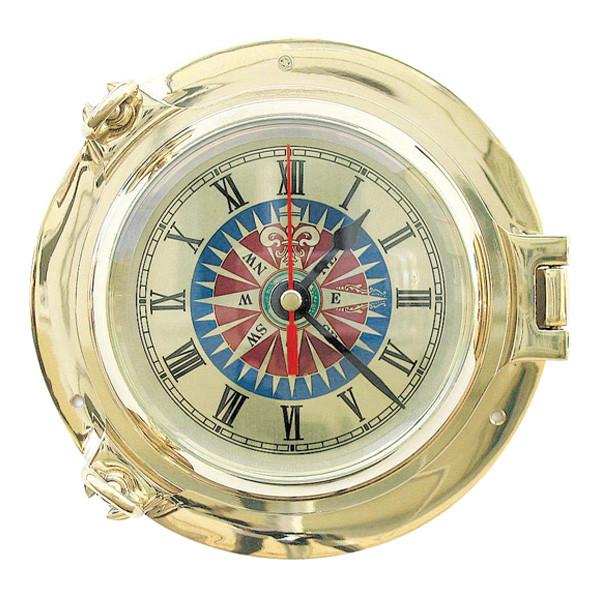 Bullaugen-Uhr mit Windrosenzifferblatt Ø: 18cm