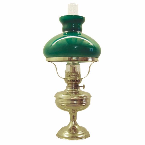 Lampe, mit grünem Glasschirm, Petroleum, H: 49cm, Ø: 13/22cm