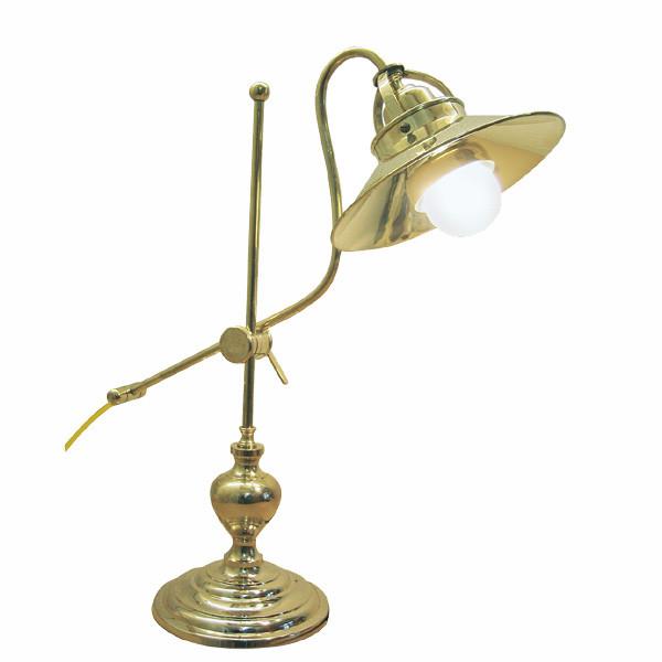 Tisch-Leuchte, Messing lackiert, elektrisch H: 48cm, Ø: 16,5/20cm