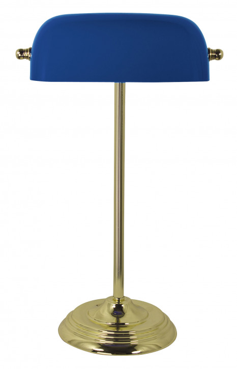 Bankers-Lampe, Messing mit blauem Glasschirm H: 46cm