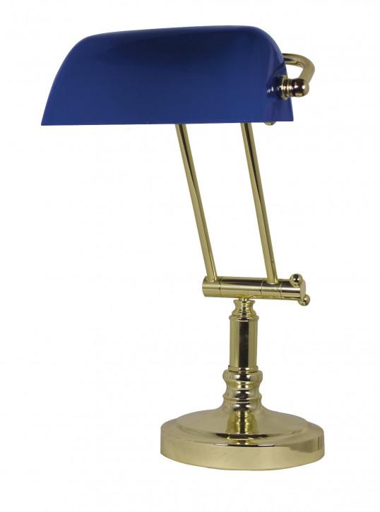 Bankers-Lampe, Messing mit blauem Glasschirm H: 36/43cm