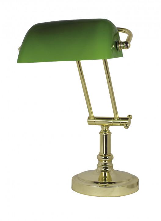 Bankers-Lampe, Messing mit grünem Glasschirm H: 36/43cm