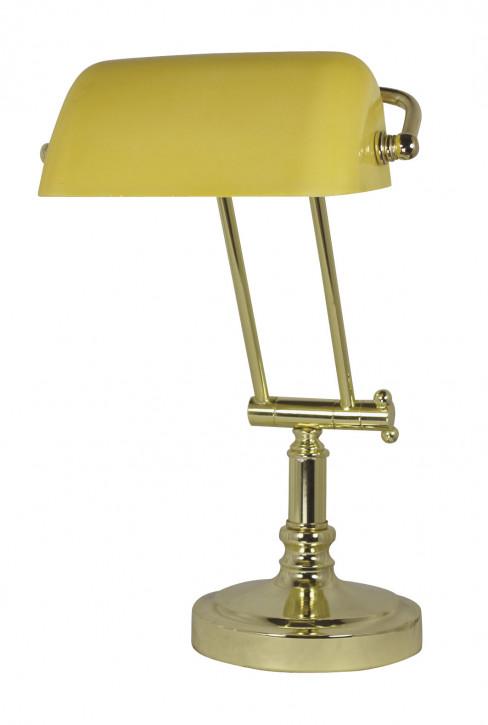 Bankers-Lampe, Messing mit gelbem Glasschirm H: 36/43cm