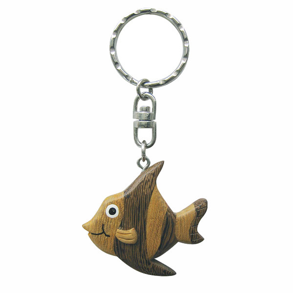 Schlüsselanhänger - Fisch mit Streifen, Holz