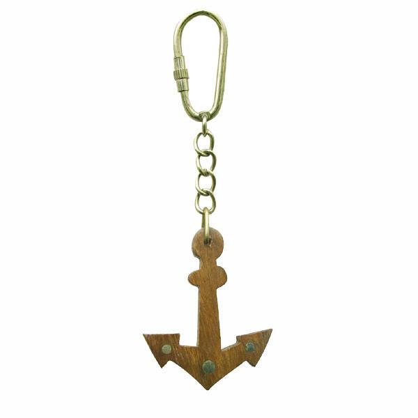 Schlüsselanhänger - Anker, Holz/Messing