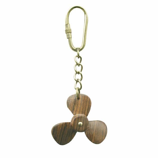 Schlüsselanhänger - Schiffsschraube, Holz/Messing