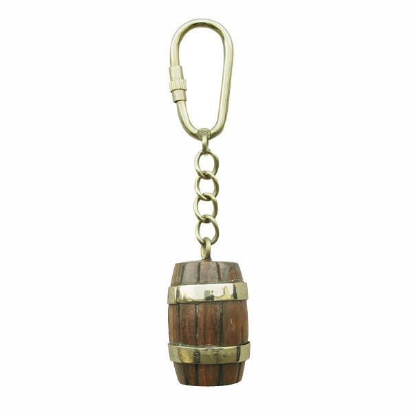Schlüsselanhänger - Fass, Holz/Messing