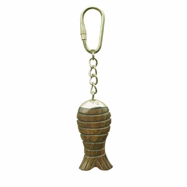 Schlüsselanhänger - Fisch am Harken, Holz/Messing