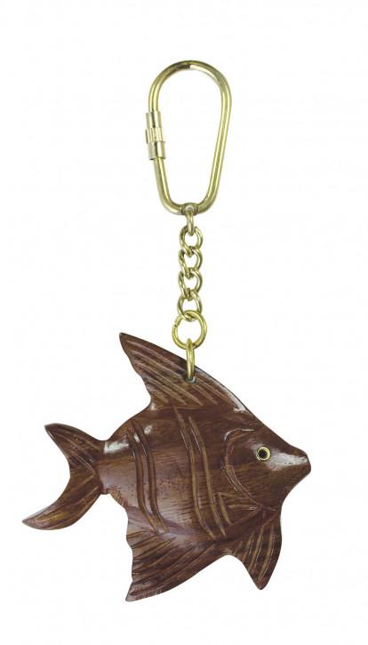 Schlüsselanhänger - brauner Fisch, Holz/Messing