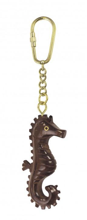Schlüsselanhänger - Seepferdchen, Holz/Messing
