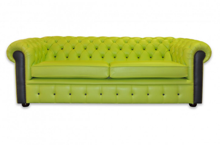 """London Harlekin"" Original englisches Chesterfield Sofa Dreisitzer modern Echtleder"