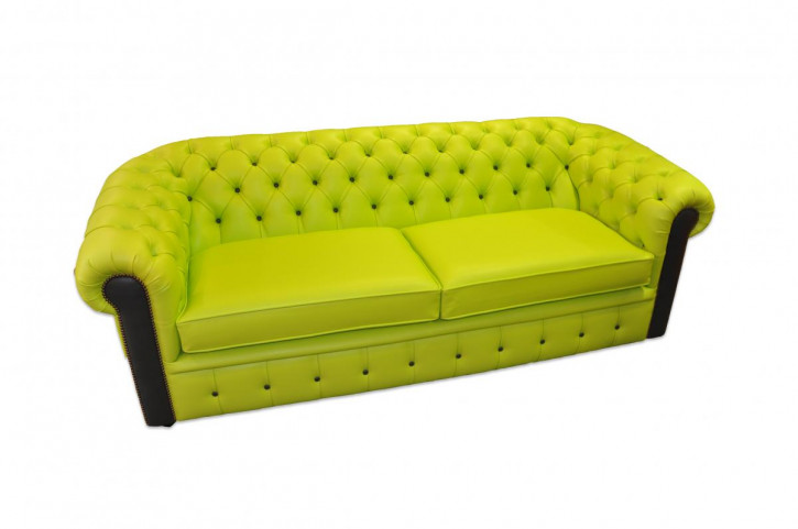 """London Harlekin"" englisches Chesterfield Sofa original Echtleder 2-Sitzer"
