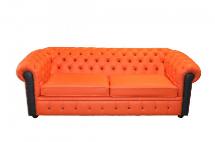 """London Harlekin"" englisches Chesterfield Sofa original Echtleder Zweisitzer"