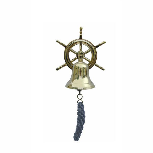 Glocke mit Steuerrad-Wandhalterung mit blauem Bändsel, Ø: 7,5cm