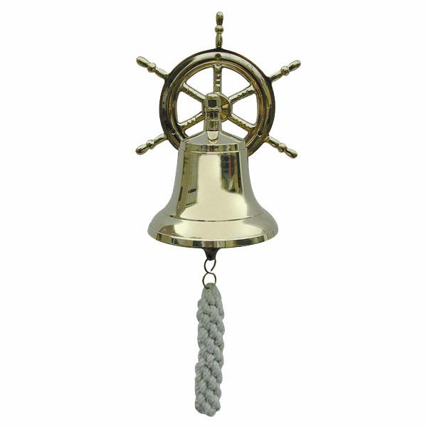 Glocke mit Steuerradwandhalterung, Messing, Ø: 12cm