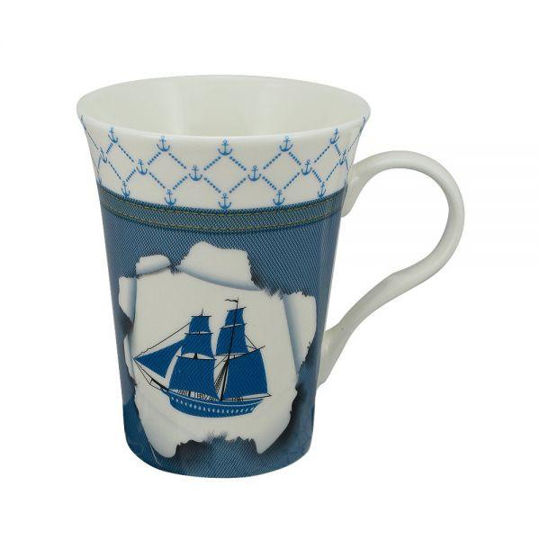 Tasse/Kaffeebecher - Schiff, Porzellan, H: 11cm, Ø:8,5/6cm, in Geschenkbox