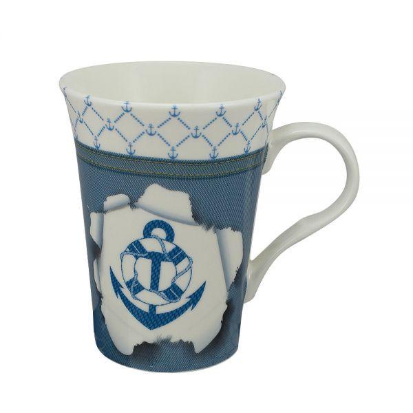 Tasse/Kaffeebecher - Anker, Porzellan, H: 11cm, Ø:8,5/6cm, in Geschenkbox