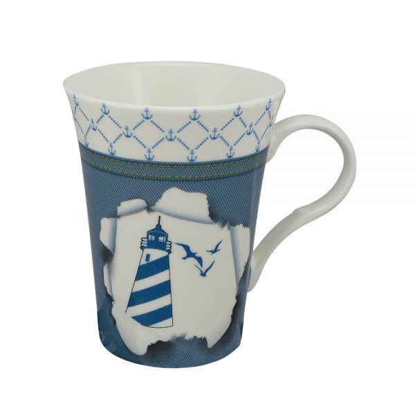 Tasse/Kaffeebecher - Leuchtturm, Porzellan, H: 11cm, Ø:8,5/6cm, in Geschenkbox