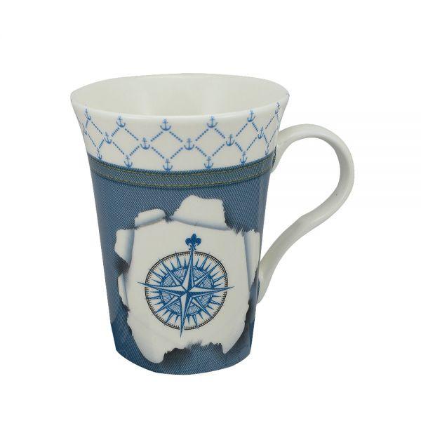 Tasse/Kaffeebecher - Windrose, Porzellan, H: 11cm, Ø:8,5/6cm, in Geschenkbox