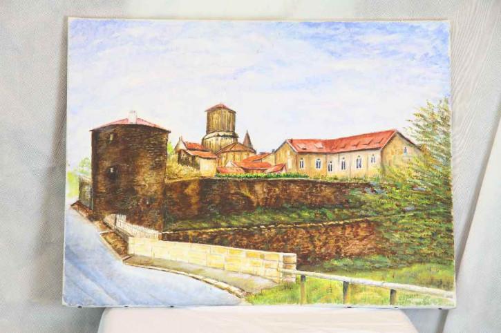 """Leinwandmalerei """"Burg im Sommer"""""""