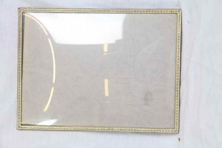 Bilderrahmen Gold, weiss, rundes Glas