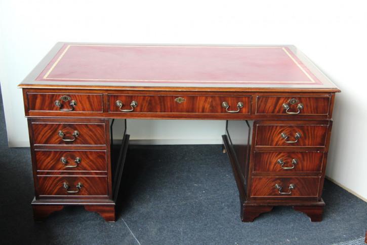 Mahagoni Schreibtisch England Prägeleder Pedastal Desk