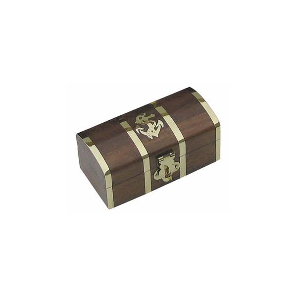 Schatztruhe, Holz/Messing, 10x5x4,5cm
