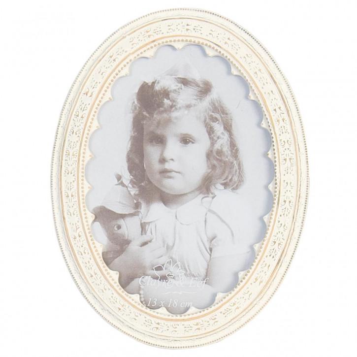 Wunderschöner Bilderrahmen weiß oval 13*18cm